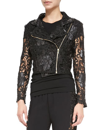Sitges Lace/Faux-Leather Moto Jacket & Bisec Cutout-Side Pull-On Pants