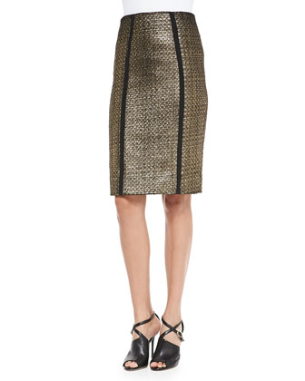 Nita Metallic Tweed Pencil Skirt