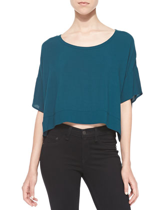 Scoop-Neck Crop Tee, Midnight Teal