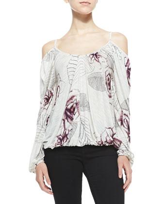 Adelia Rose-Print Cold-Shoulder Blouse