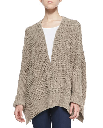 Breeze Chain-Knit Relaxed Cardigan, Neutral