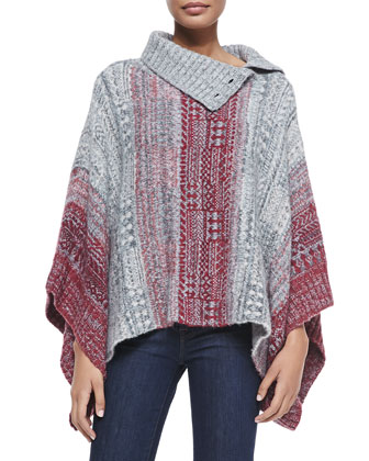 Willow Diamond-Knit Poncho, Red/Gray