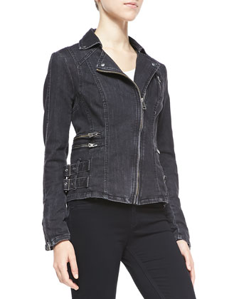 Denim Buckle-Detailed Zip Jacket, Black
