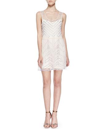 Chevron-Sequined Chiffon Mini Dress, Ivory