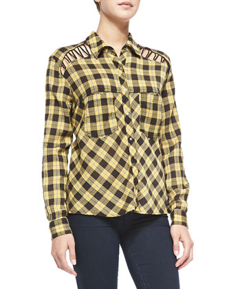 Lace-Up Plaid Crepe Blouse, Yellow