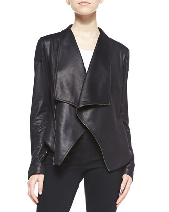 Joseph Street Washed Faux-Leather Jacket, Black