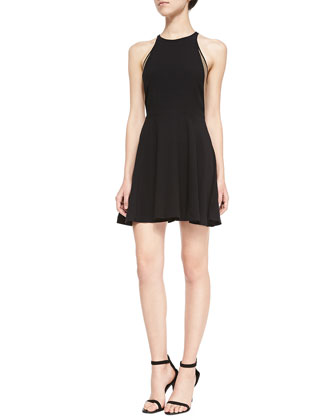 Burton Gold-Inset Fit-And-Flare Dress, Black