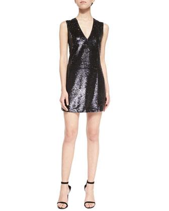 Sequined V-Neck Sleeveless Dress