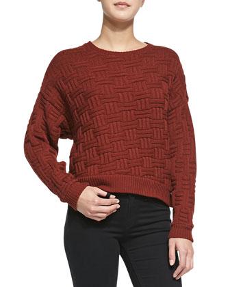 Basketweave Knit Dolman Sweater, Rust