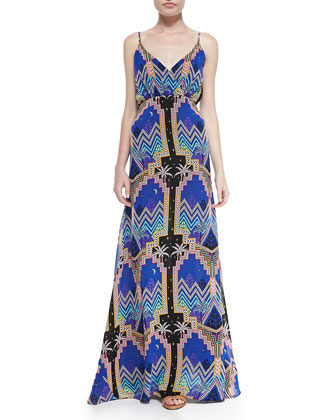Pyramid-Print V-Neck Maxi Dress