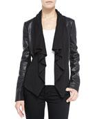 Ruffled Front-Drape Mixed Media Leather Jacket