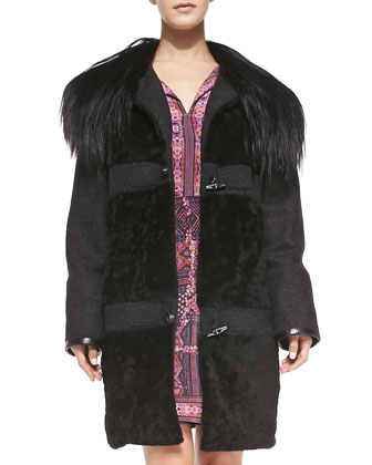 Fur-Collar Toggle-Front Coat