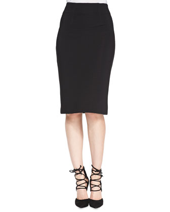 Ottoman Ribbed Knit Pencil Skirt