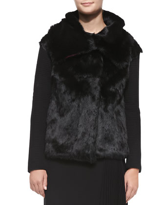 Rabbit Fur Ribbed-Knit Jacket & Long-Sleeve Patchwork Ponte Top