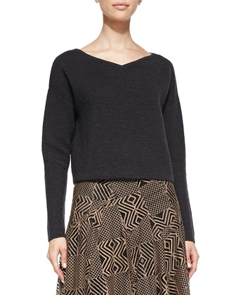 Ribbed Knit Boxy Pullover & Geometric-Lace A-Line Skirt