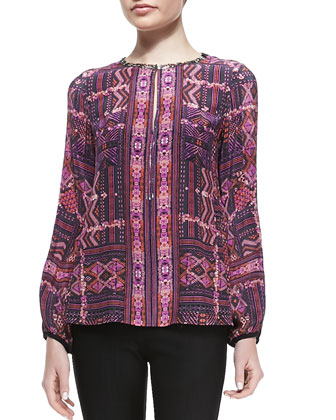 Carpet-Print Beaded Blouse