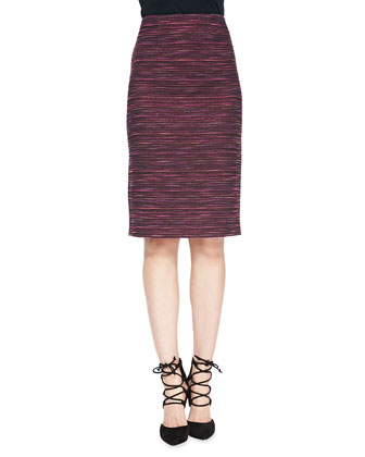 Striped Tweed Long Pencil Skirt