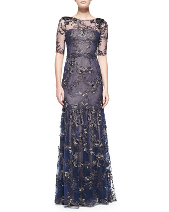 Elbow-Sleeve Tiered Flower Appliqu?? Gown