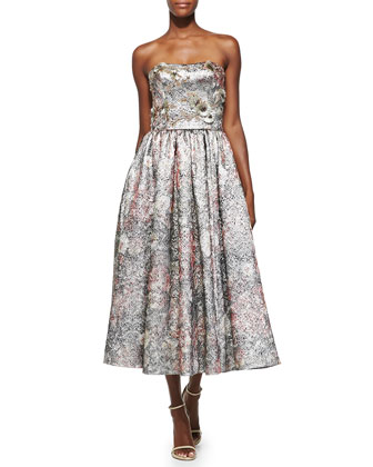Strapless Metallic Floral Cocktail Dress