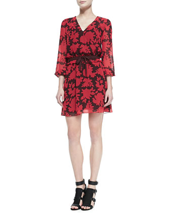 Renzi Floral-Print Tie-Waist Dress