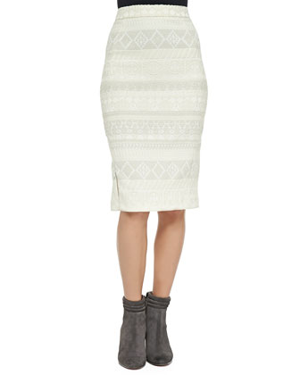 James Pattern-Stripe Tweed Skirt