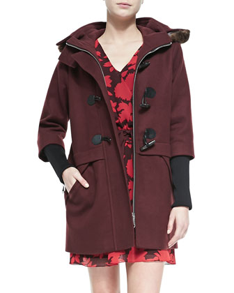 Scotch Fur-Hood Toggle Coat & Renzi Floral-Print Tie-Waist Dress