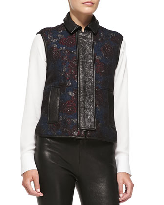 Waller Floral Tapestry Vest W/ Leather Trim