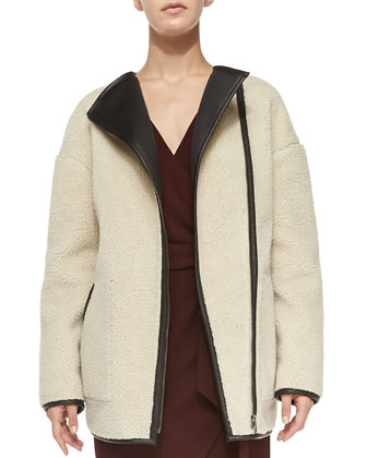Cullen Fleece/Leather Coat & Henrick Tie-Waist Wrap Dress