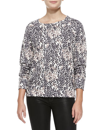 Annora Leopard-Print Sweater, Porcelain-Charcoal