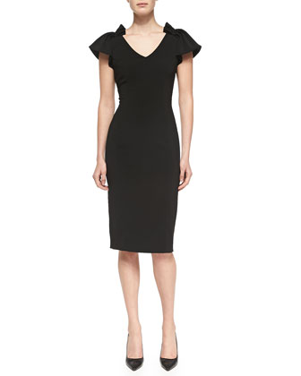 V-Neck Sheath Dress W/ Pleated Shoulders
