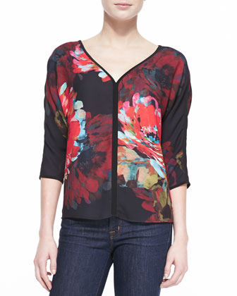 Virtue 3/4-Sleeve Floral Top