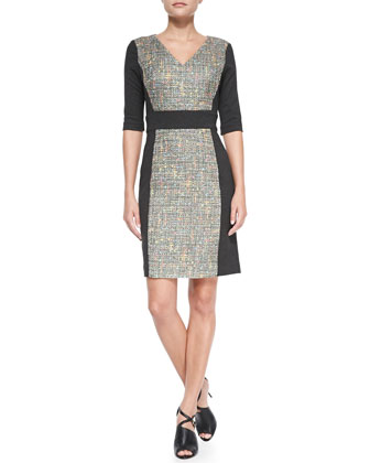 Felicia V-Neck Tweed Panel Dress