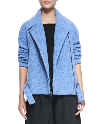 Panda Asymmetric-Zip Moto Jacket, Savanna Square-Neck Crepe Cami & Edie ...