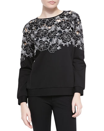 Long-Sleeve Blossom Cutout Top