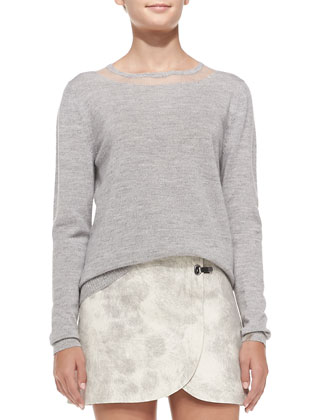 Fine-Gauge Crewneck Pullover Sweater & Double-Clasp Pony Textured Miniskirt