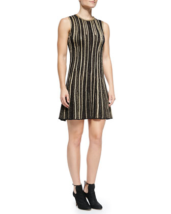 Sleeveless Metallic Vertical-Stripe Dress