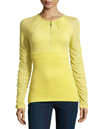 Ruched Zip-Front Top, Lime