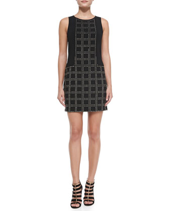 Blake Studded Grid-Pattern Sheath Dress