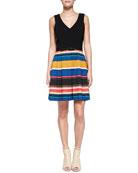Martha Belted Stripe-Skirt Dress