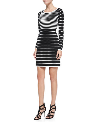 Violetta Long-Sleeve Contrast-Stripe Dress