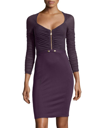 Ruched Zip-Front Faux-Belted Dress, Purple-Pink