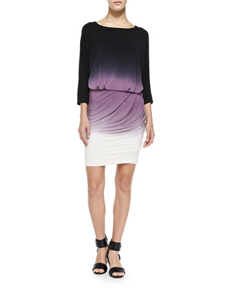 Clancy 3/4-Sleeve Ombre Dress