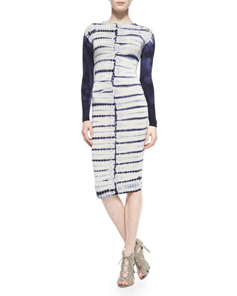 Lulu Tie-Dye-Stripe Fitted Dress