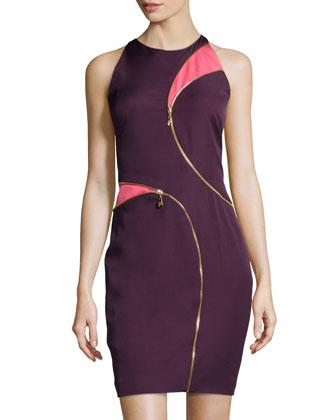 Zip-Trim Two-Tone Dress, Purple/Pink