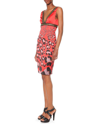 Printed Grommet-Trim Dress