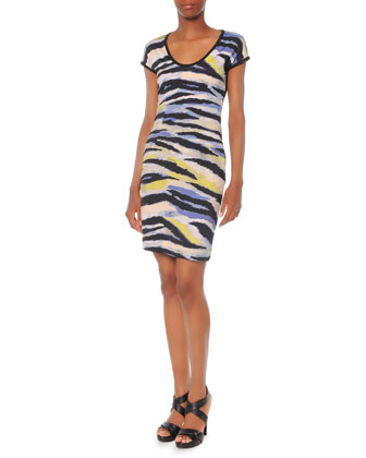 Painted-Tiger-Print Jersey Dress
