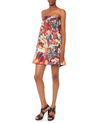 Strapless Printed Wave-Back Dress