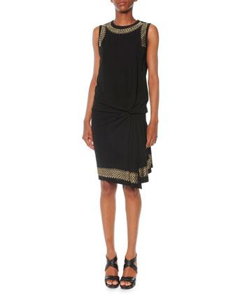 Sleeveless Grommet-Studded Dress