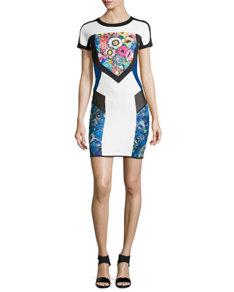 Cap-Sleeve Colorblock Scuba Sheath Dress