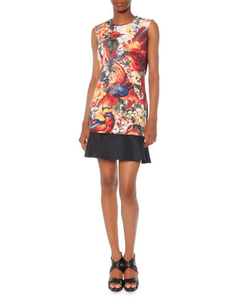 Rhapsody Sleeveless Printed Flounce-Hem Dress
